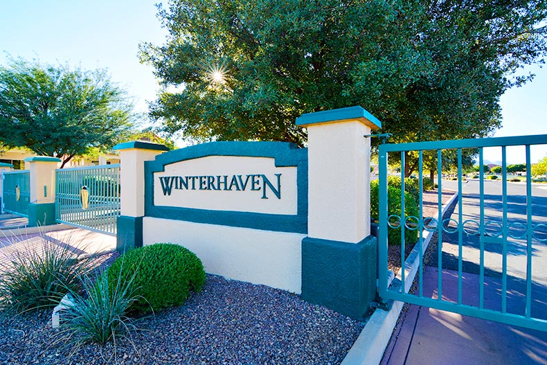 The community sign beside the gated entrance to Winterhaven in Sierra Vista, Arizona
