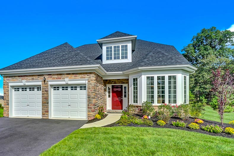 Exterior view of a model home at Woods Landing in Mays Landing, New Jersey