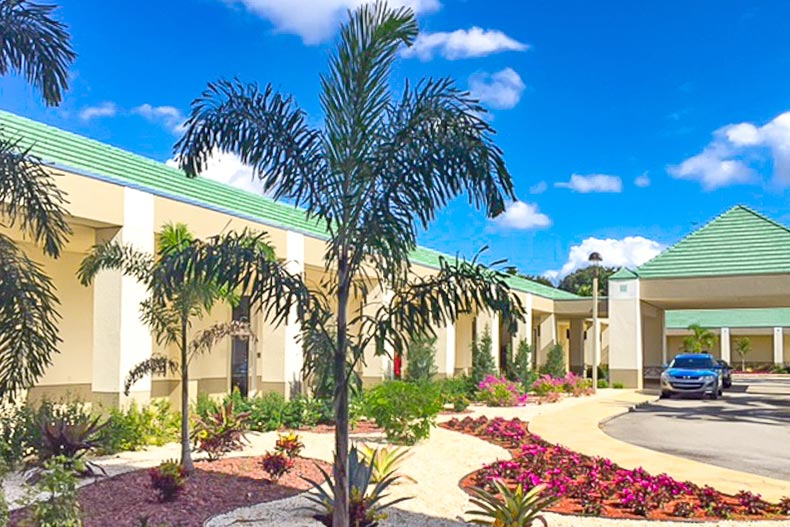 Palm trees outside the entrance to Wynmoor Village in Coconut Creek, Florida