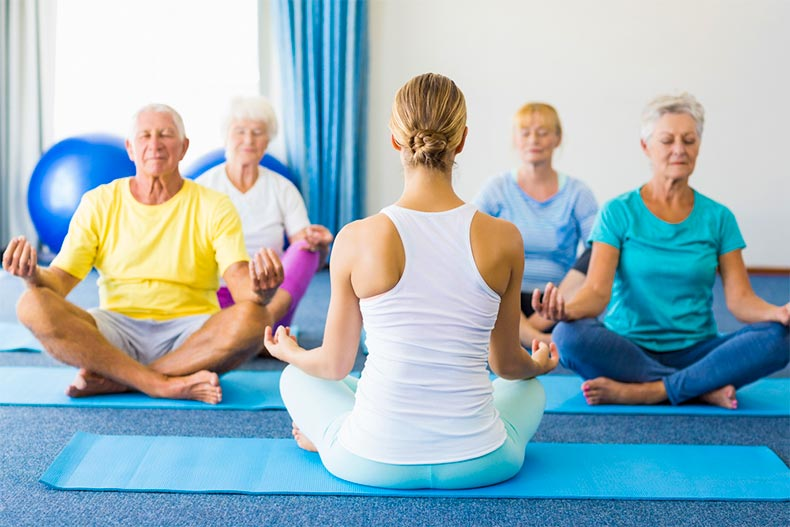 Back of yoga instructor and four senior adults doing yoga in a class