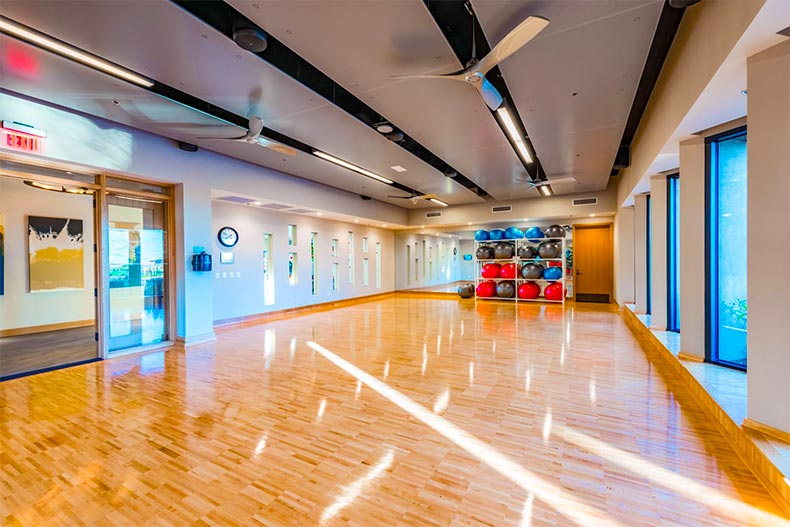 Interior of a modern, well-lit yoga studio with exercise balls in Encore at Eastmark