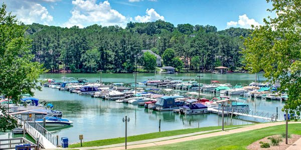 Tellico Village Lake Dock with Boats and Path